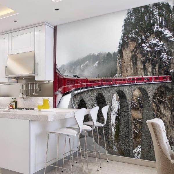 Mural de pared tren montañas