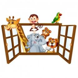 Sticker fenêtre avec animaux