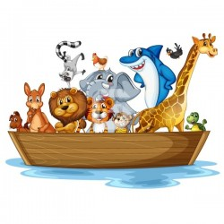 Vinilo barca con animales