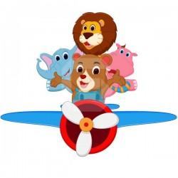 Sticker enfant animaux dans l´avion