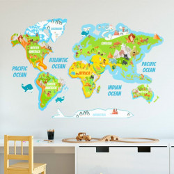 Mapamundi con nombres de océanos