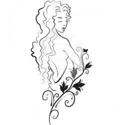 Vinilo adhesivo mujer flor
