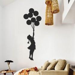 Vinilo decorativo niña con globos