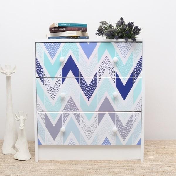 Vinilo formas geométricas en azul