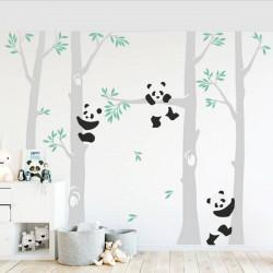Vinilo arboles con oso panda