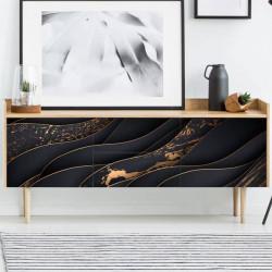 Autocollant illustration 3D noir et or