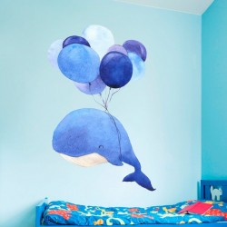 Sticker enfant baleine et ballons