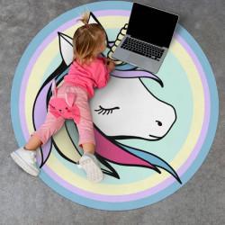 Alfombra de vinilo Redonda con unicornio