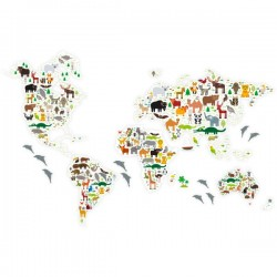 Vinilo mapamundi con animales