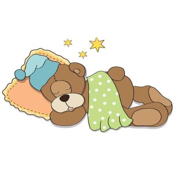 Sticker Décoratif Bébé Ours Dormant