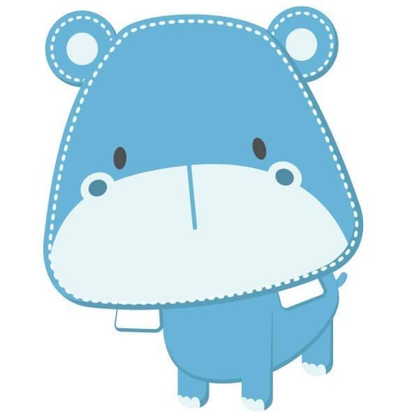 Autocollant Mural Bébé Hippopotame Bleu